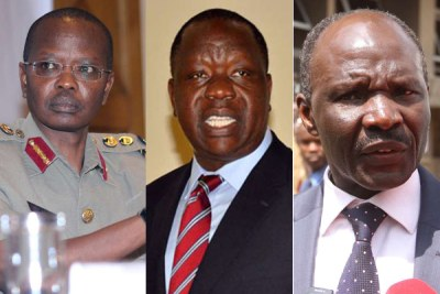 Inspector-General of Police Joseph Boinnet, Interior Cabinet Secretary Fred Matiang'i and Immigration Principal Secretary Gordon Kihalangwa.