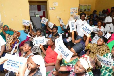 Nigerian women taking part in the #WhatWomenWant campaign.