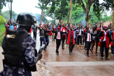 Makerere University students march during the strike.