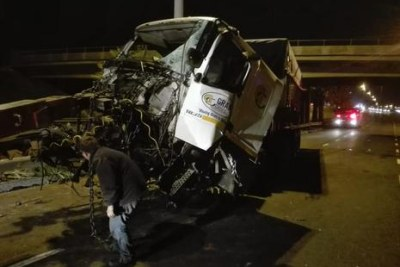 The scene of on accident on the N1 highway after a truck driver lost control and was flung from his vehicle.