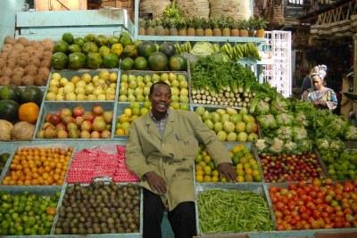 Fresh fruit and veg on sale at Nairobi City Market