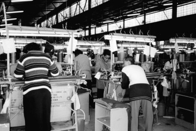 Swazi textile factory making sweaters and jeans for the African market.