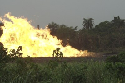 A gas flare in Nigeria:The effects of gas flaring impacts on global warming in Africa.