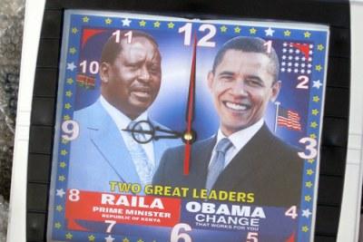 Close-up of clocks of Raila Odinga, Prime Minister of Kenya and United States Presidential hopeful, Barack Obama
