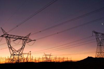 Electricity pylons.