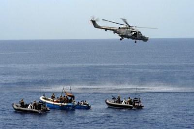 Western naval forces intercept a skiff carrying suspected pirates in the Gulf of Aden.