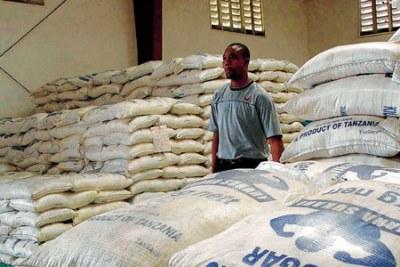 Inside the Kilmbero Sugar Warehouse in Tanzania.