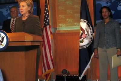 Secretary of State Hillary Clinton announcing new Sudan policy with United Nations Ambassador Susan Rice (right) and Presidential Envoy Scott Gration
