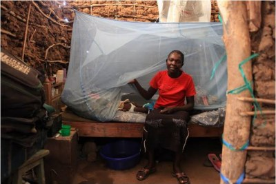 A mother sets up mosquito netting to protect her child.