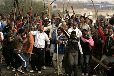 South African protesters chant slogans