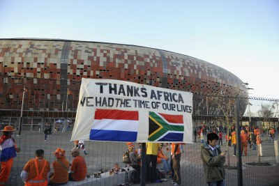 A sign on the fence outside Soccer City during the 2010 World Cup (file photo).