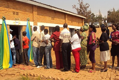 Voters line up to exercise their constitutional right to vote (file photo).