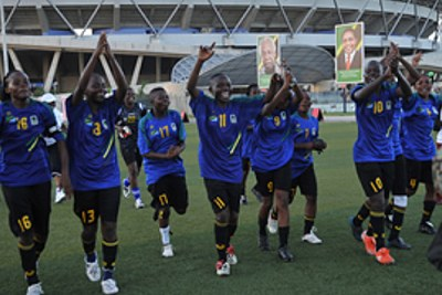The national women soccer team, Twiga Stars, players celebrate after beating Eritrea 8-1 in their Africa Women Championship qualifier at Uhuru Stadium yesterday.