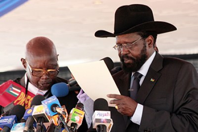 President Salva Kiir at an earlier swearing-in (file photo).
