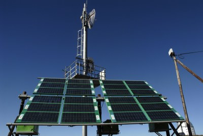 Solar-powered mobile phone mast.