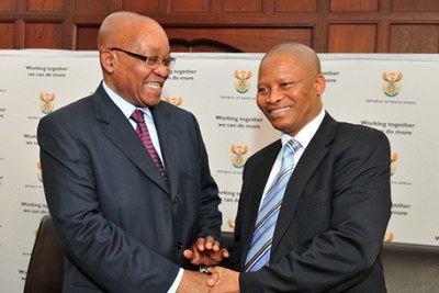 President Jacob Zuma congratulates Mogoeng Mogoeng on his appointment as the new Chief Justice in the Constitutional Court of South Africa.