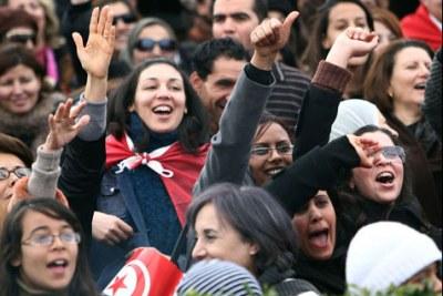 Des femmes tunisiennes en pleine manifestation