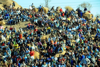 Striking Lonmin miners gather on a hill near the Marikana mine during a protest action August 2012 (file photo).