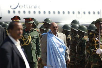 Sudanese president Omar al Bashir arrives in the southern capital of Juba.