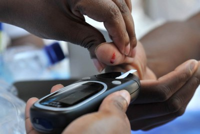 Community member tested for high blood glucose, which may indicate diabetes (file photo).