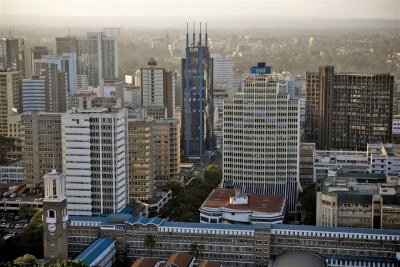 An aerial view shows the Nairobi city center in Kenya.
