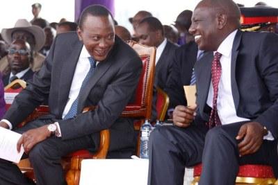 President Uhuru Kenyatta and Deputy William Ruto during Kenya's Labour Day celebrations.