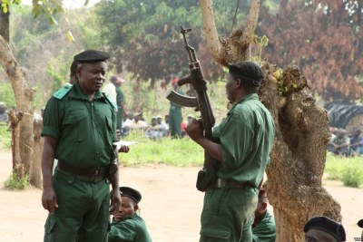 Renamo rebels being re-trained for combat at a remote bush camp (file photo).