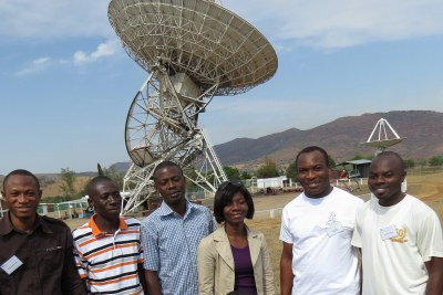 Ghanaian radio astronomers, from left, Emmanuel Proven Adzri; Emmanuel Mornoh; Theophilus Ansah-Narh; Joyce Koranteng-Acquah; Felix Madjitey and Severin Azankpo