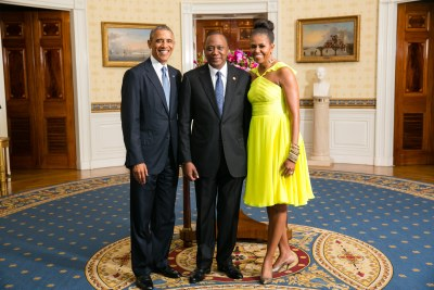 President Barack Obama and First Lady Michelle Obama greet His Excellency Uhuru Kenyatta, President of the Republic of Kenya at the State Dinner during the U.S.-Africa Summit in August 2014.
