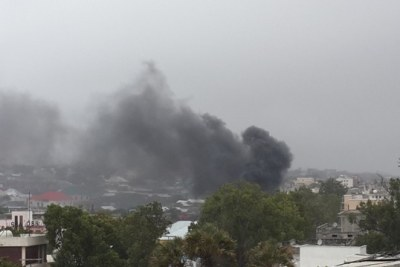 Distant image of an attack by Al Shabaab on Ex Godka Jilicow prison.