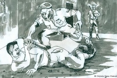 Drawing depicting the torture of inmates by Nigerian police forces.