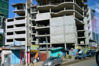 One of the many construction sites in Addis Ababa reflecting the capital city's rapid economic growth and population rise.