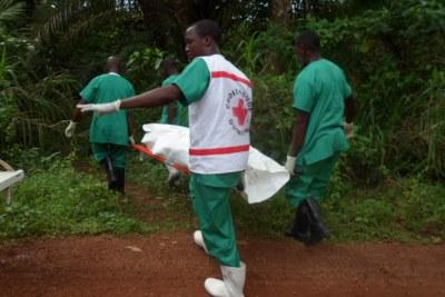 Une équipe de secouristes évacuant le corps d'un malade d'ebola en Guinée