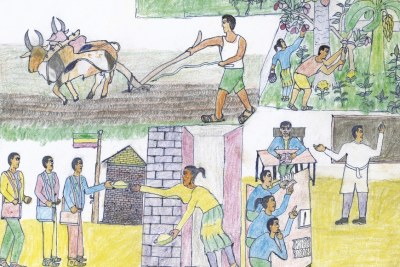 Guush Gebrehiwot Ghebremedhin is 14 and comes from Mereb-Lekhe district in Ethiopia.  He is interested in painting and design, and dislikes wasting his time. Guush's picture shows hard-working compatriots, creating a brighter future for the country.
