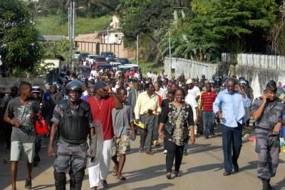 Manifestation à Libreville.