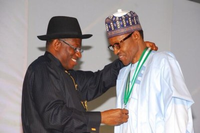 President Goodluck Jonathan and General Muhammed Buhari of the opposition APC