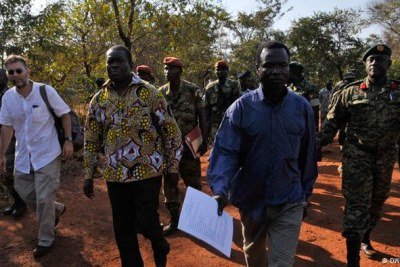 Captured LRA Commander Dominic Ongwen (third from left) in 2015.