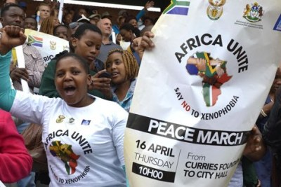 A peace march against violence on foreign nationals in South Africa at the Durban city centre.