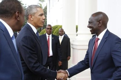 President Barack Obama greets Kenya's Deputy President William Ruto, a strong critic of gays and lesbians. Ruto also faces trial at the International Criminal Court on human rights charges.