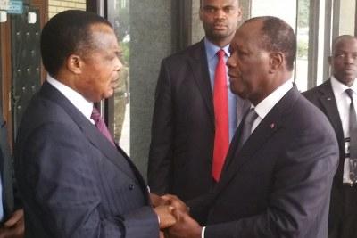 Le président Denis Sassou Nguesso et son homologue ivoirien, Alassane Ouattara  (archive)