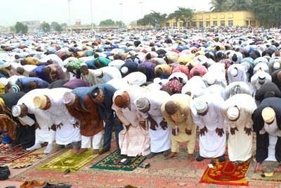 Des musulmans lors de la fin du Ramadan le 17/07/2015 à Kinshasa.