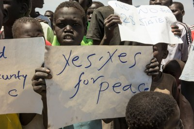 Children call for peace in South Sudan.