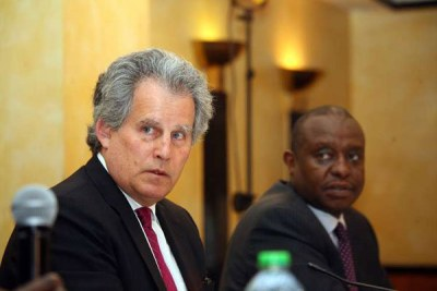 International Monetary Fund (IMF) First Deputy Managing Director David Lipton (left) and Treasury Cabinet Secretary Henry Rotich addressing journalists at Serena Hotel in Nairobi on May 10,2016.
