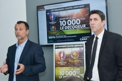 Le directeur général de Canal+, Stéphane Baumier et le directeur commercial Hervé Lacaussade