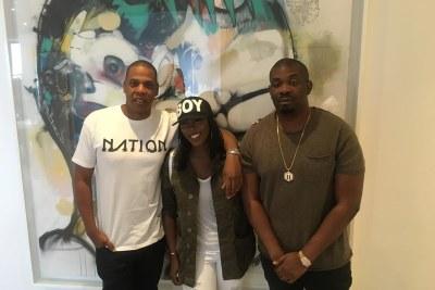 U.S. rapper Jay-Z, Tiwa Savage and Don Jazzy.