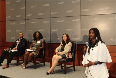 Left-Right: Nicholas Bassey USAID; Ngozi Bell, Small Business Administration; Magali Rheault, GALLUP World Poll, and Ambassador Robin Sanders, CEO FEEEDS Initiative, during the FEEEDS-GALLUP Africa business forum, July 14, 2016