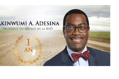 Première année du président Adesina à la tête de la BAD.   Mon ambition est d'aider à bâtir une nouvelle Afrique caractérisée par une croissance durable et partagée, qui est unie, en paix et en sécurité, intégrée sur le plan régional et compétitive sur le plan mondial.  Akinwumi Adesina, Président de la BAD