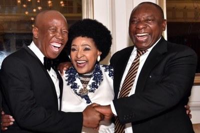 EFF leader Julius Malema, left,  Winnie Madikizela-Mandela, centre, and Deputy President Cyril Ramaphosa (file photo).