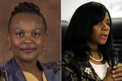 Left: Public Protector Advocate Busisiwe Mkhwebane. Right: Former Public Protector Thuli Madonsela.