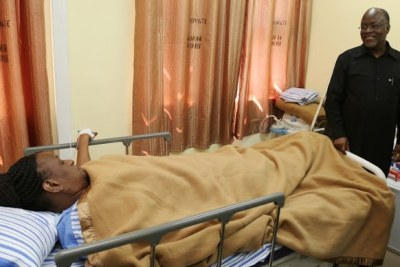 John Magufuli visited his wife, Janet, at Muhimbili National Hospital where she is admitted.